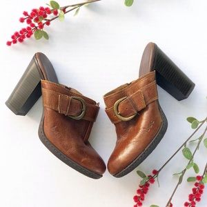 BOC Born Concepts Brown Leather Heel Mules